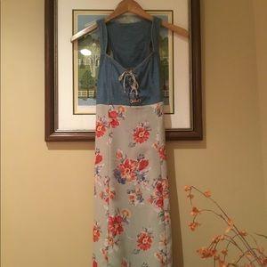 Vintage Racer-back Summer Maxi Dress w/ Jean Top
